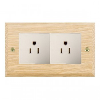 Hamilton Woods Chamfered Light Oak 2 Gang 15A 127V American Unswitched Socket with White Insert
