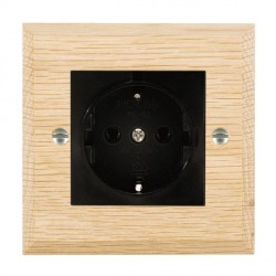Hamilton Woods Chamfered Light Oak 1 Gang 10/16A German Unswitched Socket with Black Insert