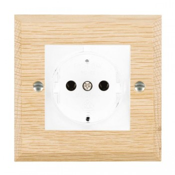 Hamilton Woods Chamfered Light Oak 1 Gang 10/16A German Unswitched Socket with White Insert