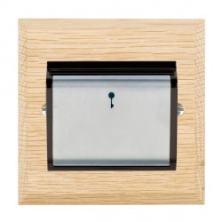 Hamilton Woods Chamfered Light Oak 1 Gang On/Off 10A Hotel Card Switch with Black Insert