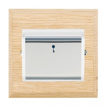 Hamilton Woods Chamfered Light Oak 1 Gang On/Off 10A Hotel Card Switch with White Insert