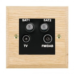 Hamilton Woods Chamfered Light Oak 1 Gang TV + 1 Gang Satellite + 1 Gang Satellite + 1 Gang FM Outlet with Black Insert