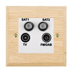 Hamilton Woods Chamfered Light Oak 1 Gang TV + 1 Gang Satellite + 1 Gang Satellite + 1 Gang FM Outlet with White Insert