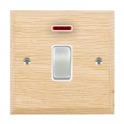 Hamilton Woods Chamfered Light Oak 1 Gang 20AX Double Pole + Neon Rocker with White Insert