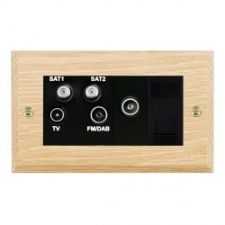 Hamilton Woods Chamfered Light Oak 1 Gang TV, 2 x 1 Gang Satellite, 1 Gang FM, 1 Gang TV Slave, 1 Gang TV...
