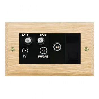 Hamilton Woods Chamfered Light Oak 1 Gang TV, 2 x 1 Gang Satellite, 1 Gang FM, 1 Gang TV Slave, 1 Gang TV (Female) Outlet with Black Insert