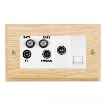 Hamilton Woods Chamfered Light Oak 1 Gang TV, 2 x 1 Gang Satellite, 1 Gang FM, 1 Gang TV Slave, 1 Gang TV (Female) Outlet with White Insert