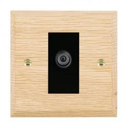 Hamilton Woods Chamfered Light Oak 1 Gang Digital Satellite 'F' Type Outlet with Black Insert