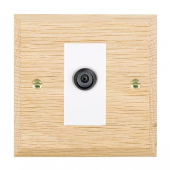 Hamilton Woods Chamfered Light Oak 1 Gang Digital Satellite 'F' Type Outlet with White Insert