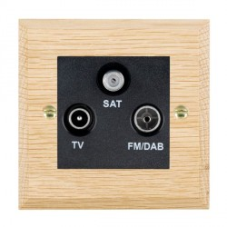 Hamilton Woods Chamfered Light Oak 1 Gang TV + 1 Gang FM +1 Gang Satellite Outlet with Black Insert