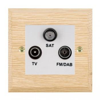 Hamilton Woods Chamfered Light Oak 1 Gang TV + 1 Gang FM +1 Gang Satellite Outlet with White Insert