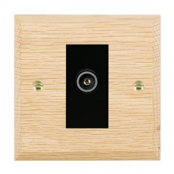 Hamilton Woods Chamfered Light Oak 1 Gang TV (Female) Outlet with Black Insert