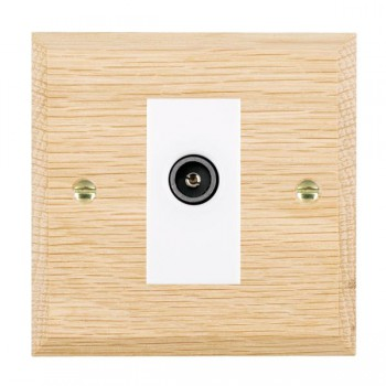 Hamilton Woods Chamfered Light Oak 1 Gang TV (Female) Outlet with White Insert