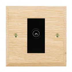 Hamilton Woods Chamfered Light Oak 1 Gang TV (Male) Outlet with Black Insert