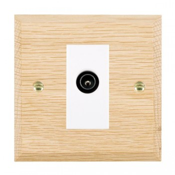 Hamilton Woods Chamfered Light Oak 1 Gang TV (Male) Outlet with White Insert