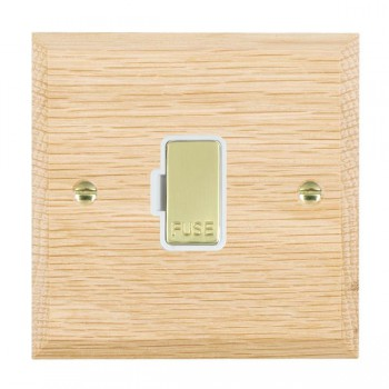Hamilton Woods Chamfered Light Oak 1 Gang 13A Fuse Only with White Insert