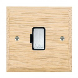 Hamilton Woods Chamfered Light Oak 1 Gang 13A Fuse Only with Black Insert