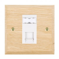 Hamilton Woods Chamfered Light Oak 1 Gang RJ12 Outlet Unshielded Outlet with White Insert