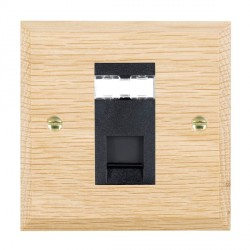 Hamilton Woods Chamfered Light Oak 1 Gang RJ45 Cat 5E Unshielded Outlet with Black Insert