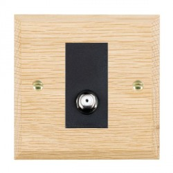 Hamilton Woods Chamfered Light Oak 1 Gang Non Isolated Satellite Outlet with Black Insert