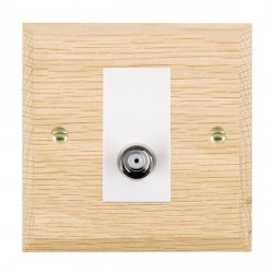 Hamilton Woods Chamfered Light Oak 1 Gang Non Isolated Satellite Outlet with White Insert