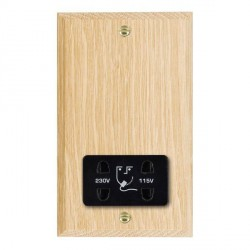 Hamilton Woods Chamfered Light Oak Dual Voltage Shaver Socket with Black Insert