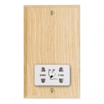 Hamilton Woods Chamfered Light Oak Dual Voltage Shaver Socket with White Insert