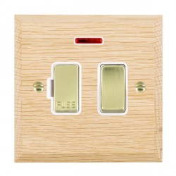 Hamilton Woods Chamfered Light Oak 1 Gang 13A Fused Spur, Double Pole + Neon with White Insert