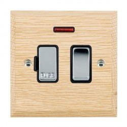 Hamilton Woods Chamfered Light Oak 1 Gang 13A Fused Spur, Double Pole + Neon with Black Insert