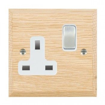 Hamilton Woods Chamfered Light Oak 1 Gang 13A Switched Socket with White Insert