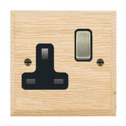 Hamilton Woods Chamfered Light Oak 1 Gang 13A Switched Socket with Black Insert