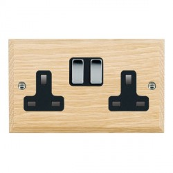 Hamilton Woods Chamfered Light Oak 2 Gang 13A Switched Socket with Black Insert