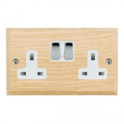 Hamilton Woods Chamfered Light Oak 2 Gang 13A Switched Socket with White Insert
