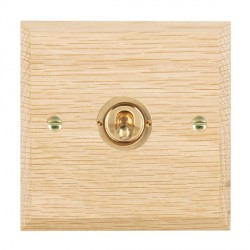 Hamilton Woods Chamfered Light Oak 1 Gang 2 Way Toggle with Polished Brass Insert