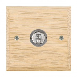 Hamilton Woods Chamfered Light Oak 1 Gang 2 Way Toggle with Satin Chrome Insert