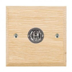 Hamilton Woods Chamfered Light Oak 1 Gang 2 Way Toggle with Bright Chrome Insert