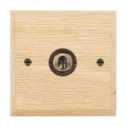 Hamilton Woods Chamfered Light Oak 1 Gang 2 Way Toggle with Antique Brass Insert