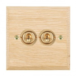 Hamilton Woods Chamfered Light Oak 2 Gang 2 Way Toggle with Polished Brass Insert