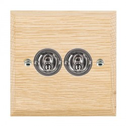 Hamilton Woods Chamfered Light Oak 2 Gang 2 Way Toggle with Bright Chrome Insert