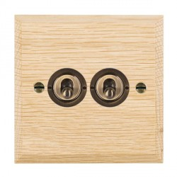 Hamilton Woods Chamfered Light Oak 2 Gang 2 Way Toggle with Antique Brass Insert
