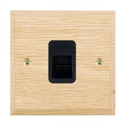 Hamilton Woods Chamfered Light Oak 1 Gang Telephone Master Outlet with Black Insert
