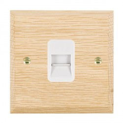Hamilton Woods Chamfered Light Oak 1 Gang Telephone Master Outlet with White Insert