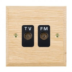 Hamilton Woods Chamfered Light Oak 2 Gang Isolated TV/FM 1 in/2 out Outlet with Black Insert