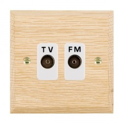 Hamilton Woods Chamfered Light Oak 2 Gang Isolated TV/FM 1 in/2 out Outlet with White Insert