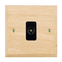 Hamilton Woods Chamfered Light Oak 1 Gang Isolated TV 1 in/1 out Outlet with Black Insert