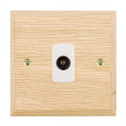 Hamilton Woods Chamfered Light Oak 1 Gang Isolated TV 1 in/1 out Outlet with White Insert