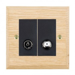 Hamilton Woods Chamfered Light Oak 1 Gang TV + 1 Gang Satellite Outlet with Black Insert