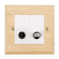 Hamilton Woods Chamfered Light Oak 1 Gang TV + 1 Gang Satellite Outlet with White Insert