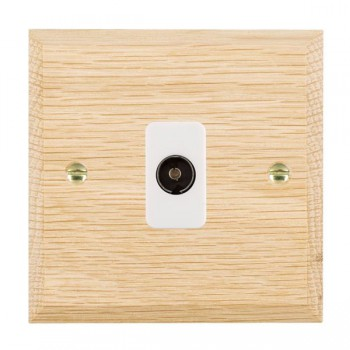 Hamilton Woods Chamfered Light Oak 1 Gang Non Isolated TV 1 in/1 Out Outlet with White Insert