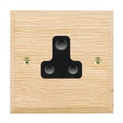 Hamilton Woods Chamfered Light Oak 1 Gang 5A Unswitched Socket with Black Insert